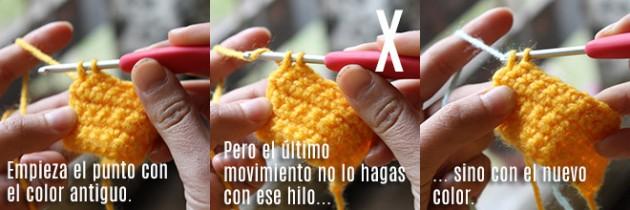 Cómo cambiar de hilo en crochet.